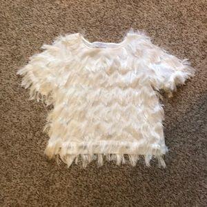 Cream Fringe Shirt
